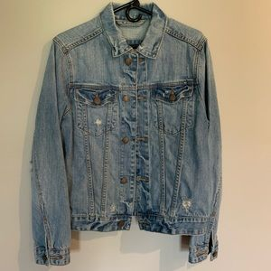 Men's Hollister distressed denim jacket.